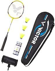 VICTOR Badmintonschläger und Federballschläger AL-2200 in gelb, Einzelschläger oder als Set mit Schläger / Bällen / Tragetasche
