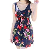 One-piece Swimwear - TOOGOO(R)Women's One-piece Swimwear Retro Vintage Swimsuit Cover Up Swimdress Navy Red L