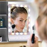 TFCFL LED MAKE UP Specchio da tavolo top Vanity illuminato Specchio Cosmetico, Touch Screen Supporto da parete Illuminato Specchio con 18 luci LED per tavolo, Viaggio, Rasatura, Dressing