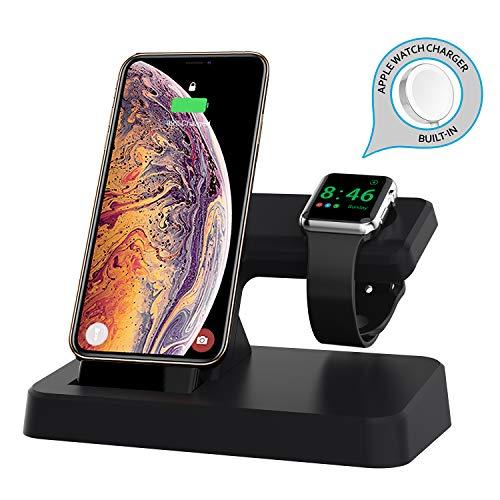 AUDON Apple Watch Chargeur, Station d'accueil pour Le Mode iWatch NightStand, avec Port USB supplémentaire et connecteur de Charge intégré Station de Charge pour iPhone XS Max/XS/XR/X/Airpods