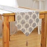 Woopower, camino de mesa de 33 cm de ancho, diseño con árboles, de algodón y lino, para decoración del hogar, 160 cm / 180 cm / 200 cm / 220 cm / 240 cm, longitud a elegir, beige, 33x160cm