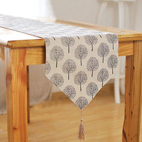 Camino de mesa, Woopower 33cm anchura patrón de árbol de lino y algodón mantel casa decoration-160cm/180/200cm/cm/240cm) longitud para elección 33x160cm beige