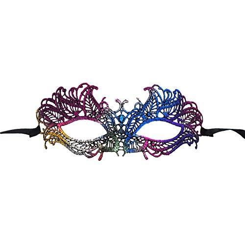 ld Spitze Maske Damen Herren Maske Zubehör Hut Karneval Maskerade für Hallween Weihnachten Party 19.5 * 9cm Bunt ()