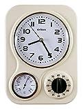 Visua NIA VSNKC - Orologio da parete modello Vintage, per cucina, con timer meccanico e termometro, Avorio