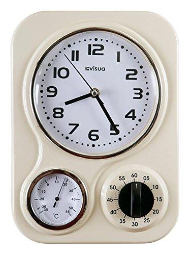 VISUA NIA  Reloj metlico retro de cocina con temporizador mecnico y termmetro  Color marfil