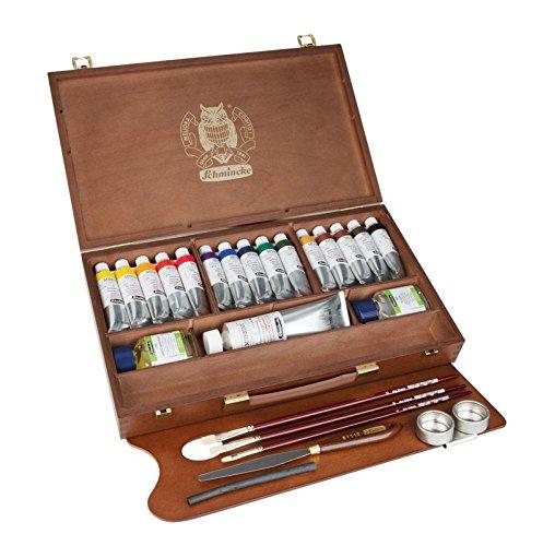 Schmincke Künstlerfarben., Mussini® Pintura al óleo Pinturas,, Caja de madera con 15tubos de 35ml, 1x 150ml blanco y accesorios