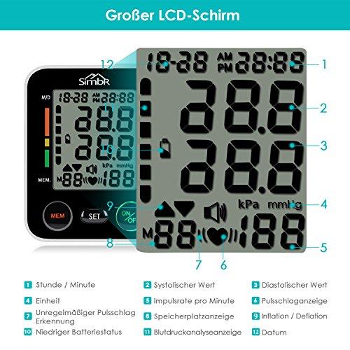 Blutdruckmessgerät Handgelenk, SIMBR Vollautomatisch Blutdruck- und Pulsmessungmit großer Manschette für zwei Benutzer (2x 90 speicherbare Messungen), hohe Messgenauigkeit