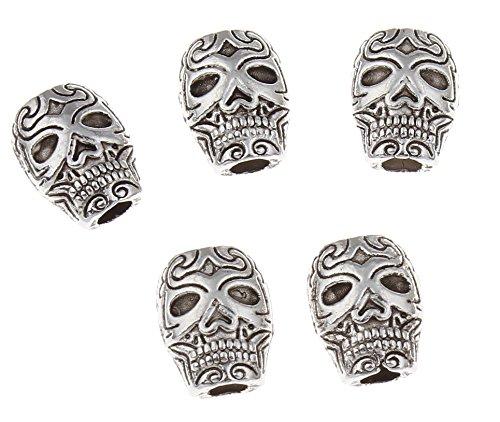 Perlin - 30stk. Schädel Totenkopf Perlen 10mm Metallperlen Silber Spacer Zwischenteile Zwischenperlen für DIY Halskette Armbänder Basteln Schmuck F313 x3