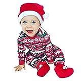 Riou Kinder Langarm Weihnachten Halloween Kostüm Top Set Baby Kleidung Set Kleinkind Neugeborenes Baby Jungen Mädchen Cosplay Kostüm Strampler Hut Outfits Set Strampler Overall (80, Rot D)
