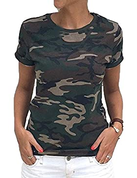 Juleya Camiseta Mujer Camuflaje Manga Corta O Cuello Imprimir Camisetas Suelto Tallas Nueva Camiseta Femenina...