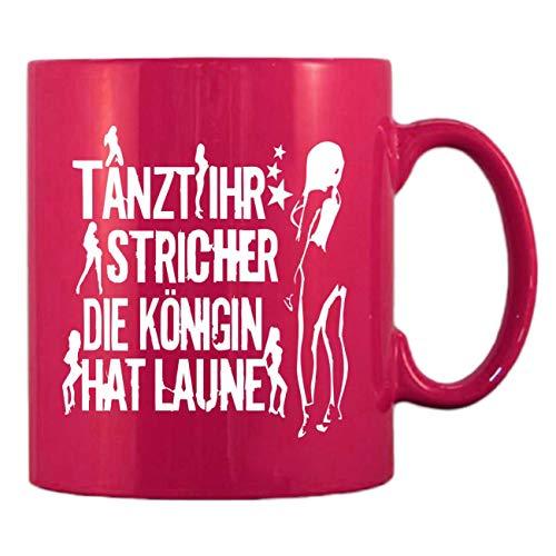 Pinke Kaffeetasse aus Glas 300ml große Tasse bedruckt KÖNIGIN hat Laune