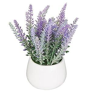 MyGift – Planta artificial de cerámica para jardín, color blanco