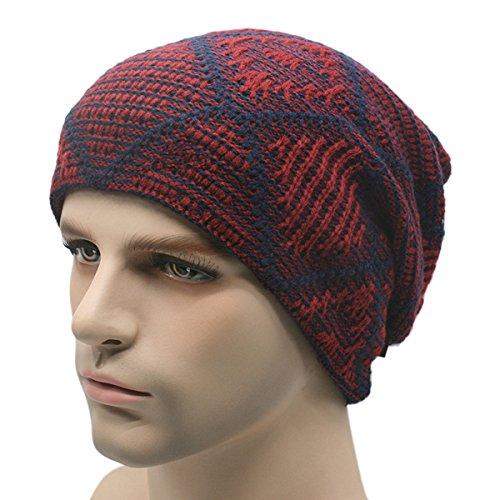 Butterme Tian mot grille hommes Plus-Fluff doublé d'épaisseur hiver chaud chapeau tricoté en laine Daily Slouchy bonnet tricoté de crâne casquette vin rouge