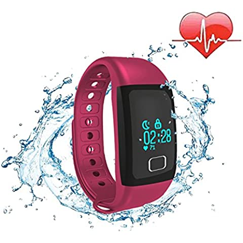 COOSA Smart bracelet pulsera inteligente pulsera Bluetooth 4.0 Bluetooth IP67 a prueba de agua OLED pantalla táctil Recordatorio de seguimiento de calorías podómetro Health Smart Muñequera sueño monitor de llamada para Android IOS Smartphone (rojo,