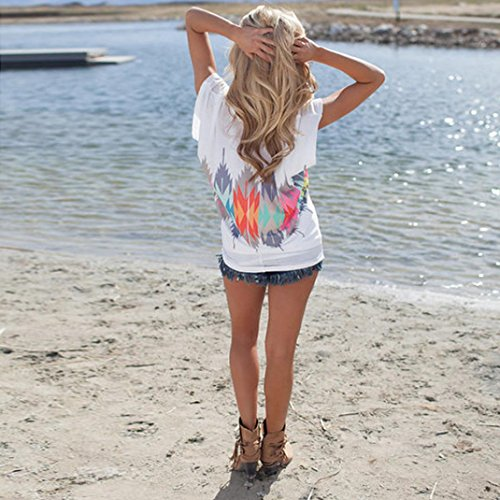 Reasoncool Le donne hanno stampato la maglietta allentata Pullover manica corta Top camicetta casuale Bianco