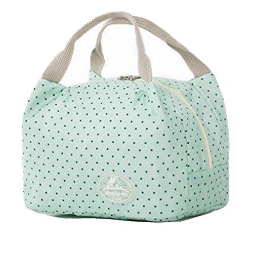 Rieovo 2017pranzo borse per donne floreale a strisce contenitore termico per pranzo picnic, Kids uomo Cooler Tote green dot