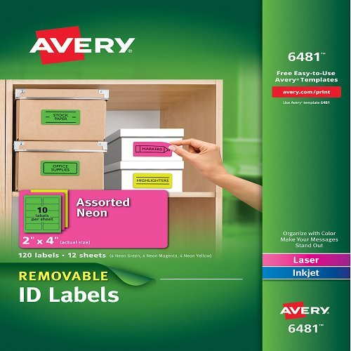 "Multipurpose Labels, Remv, 10UP, 2""X4"", 120/PK, NE/AST, Sold as 1 Package"