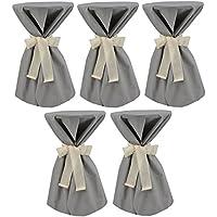 Sensalux, 5 Stehtischüberwürfe (nicht genäht) abwischbar - (Farbe nach Wahl), Überwurf grau Schleifenband creme, Tischdurchmesser 60-70 cm, die preisgünstige Alternative zur Husse
