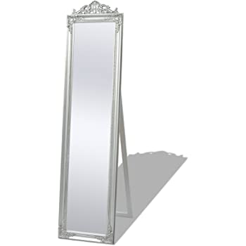 b51d70892e07d Festnight Free-Standing Mirror Floor Mirror Dressing Mirror Bedroom  Furniture Baroque Style 160x40 cm Silver