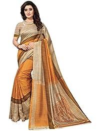 Varayu Women's Striped Printed Casual Wear Bhagalpuri Silk Saree With Unstitched Blouse Piece