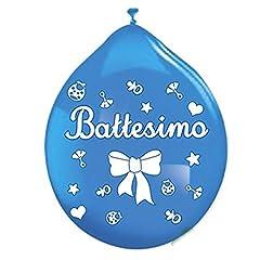 Idea Regalo - PALLONCINI BATTESIMO CELESTE 20 PZ BIG PARTY