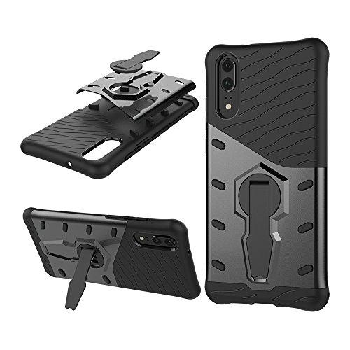 Phone Hülle Cover, Für Huawei P20, 360 Grad Spin Rüstung TPU + PC Fall für Huawei P20 mit Halter (Color : Black)
