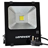 LEPOWER 50W LED Floodlight, Super Bright Outdoor Work Lights, 250W Halogen Bulbs Equivalent, IP66 Waterproof Outdoor Lights, 6500K, 4500lm (Daylight White)