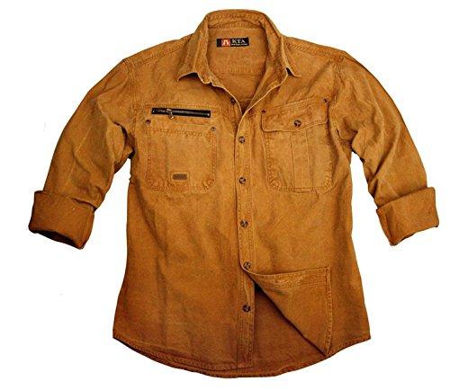 robustes Outdoor Herrenhemd Overshirt in braun, mustard, khaki und blau, Langarm- Shirt