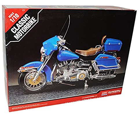Harley Davidson Classic Blau Kit Bausatz 1/10 Academy Modell Motorrad Modell Auto (Bausatz Harley Davidson)