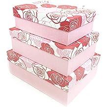 Rose Flor rectángulo cartón duro Craft almacenamiento Brithday de Navidad caja de regalo [Rojo], rojo, rosa, Medium: (25.5 x 18.5 x 9cm)