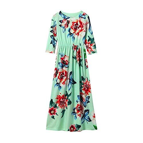 Bellelove Kleider Mädchen Blumen Kleid Elegant Langarm Maxikleid Floral Print Böhmischen Strand Maxi Kleid