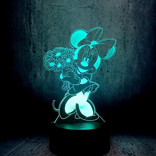 Nachtlicht Usb Minnie Maus Holding Bouquet Led Beleuchtung Niedlichen Cartoon 3D Nachtlicht Schönheit Geschenk Kind Schlafzimmer Dekoration
