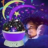 opamoo Projektor Lampe, LED Sternenhimmel Projektor Nachtlicht 360°Drehbare Kinder Lampe, Einschlafhilfe mit Farbspiel, Perfekt für Kinderzimmer, Schlafzimmer, Parteien Lila