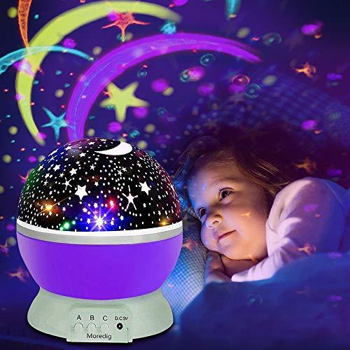 Projektor Lampe, Omitium LED Sternenhimmel Projektor Nachtlicht 360° Drehbare Kinder Lampe, Einschlafhilfe mit Farbspiel, Perfekt für Kinderzimmer, Schlafzimmer, Geburtstag, Parteien, Weihnachten-Lila