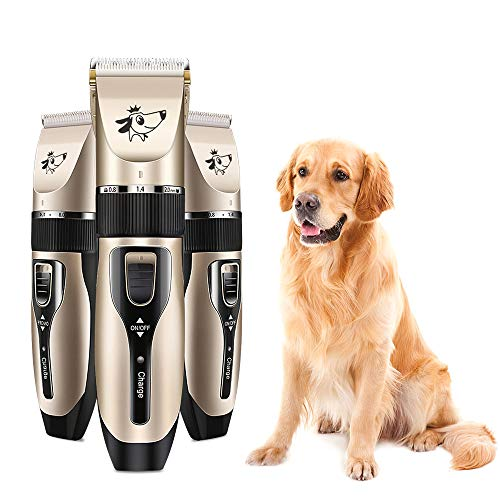 Weehey Kit per tagliabordi a Basso Rumore a Batteria Ricaricabile per Cani e Gatti