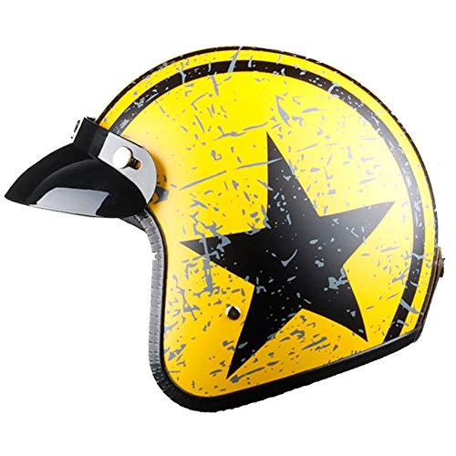 TOUKUI casco moto jet casco viso aperto Captain star cascos para moto vintage pilot cafe racer helm summer@arancione nero_M