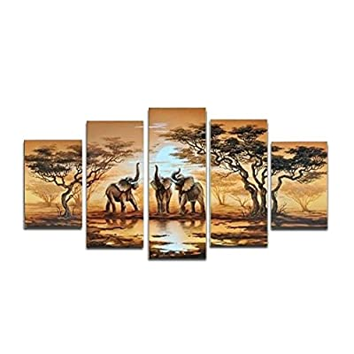 YEESAM ART® Large African elephant ++ 100% Handmade Landscape Oil Painting 5 pieces Multi Panel Split Canvas Abstract and Modern Contemporary Art ++ Hand Painted Canvas Wall Art Artwork Paintings for Home Living Room Office Christmas Decor Decorations or