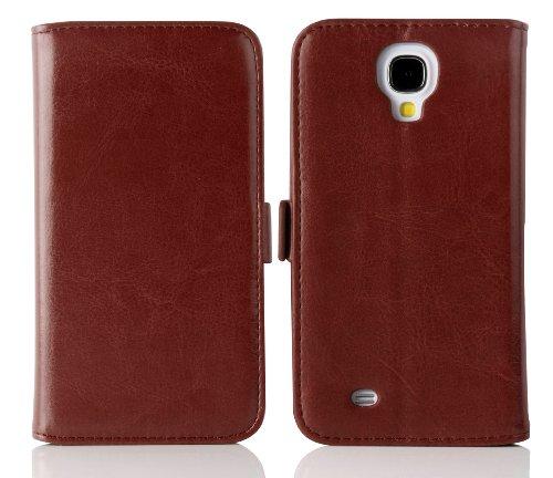 JAMMYLIZARD Schutzhülle Galaxy S4, Schutzhülle Galaxy S4 Schutzhülle Deluxe Lederoptik Range Karten Magnetverschluss, braun -