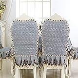 Tischdecke,Tischtuch,Table Cloth,Moderne einfache Stoff Verdickung, wasserdicht und bügeln quadratische Tischdecke, Stuhlhussen, Kissenbezüge, graue Sets, Stuhlabdeckung 1 Packung