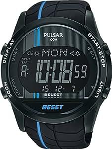 Pulsar - PV4007X1 - Montre Homme - Quartz - Digitale - Eclairage - Alarme - Chronomètre - Bracelet différents matériaux noir