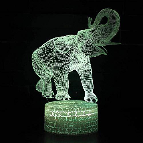 Elefantes 3D Lámpara Led De Colores Tablero De Acrílico Luz Nocturna Usb...