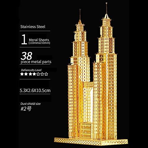Puzzle-Spielzeug, 3D dreidimensionales Metallpuzzle Metall zusammengesetztes Modell Kreatives Dekompressionsspielzeug, zusammengesetzte Kunstdekoration Menschliche Geschichte - Twin Towers (Golden) -