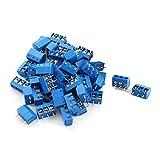 sourcingmap® 50pz 3 pin da 5,08 mm passo per circuito stampato per montaggio su scheda Blocco terminale a vite 12A 300V blu