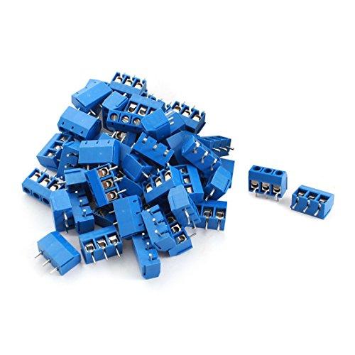 sourcing map 50 Stück 3 Pin 5 mm Pitch Leiterplatte Screw Terminal Block 12A 300V Blau -