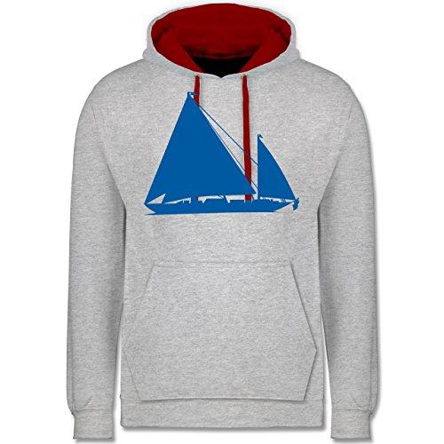 Schiffe - Segelboot - Kontrast Hoodie Grau Meliert/Rot