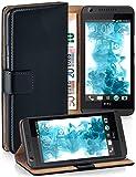 moex Booklet mit Flip Funktion [360 Grad Voll-Schutz] für HTC Desire 626G | Geldfach und Kartenfach + Stand-Funktion und Magnet-Verschluss, Schwarz