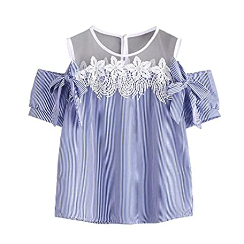 DAYSEVENTH Trendy Women Off Shoulder Lace Short Sleeve Striped Casual T-Shirt (M, Blue)