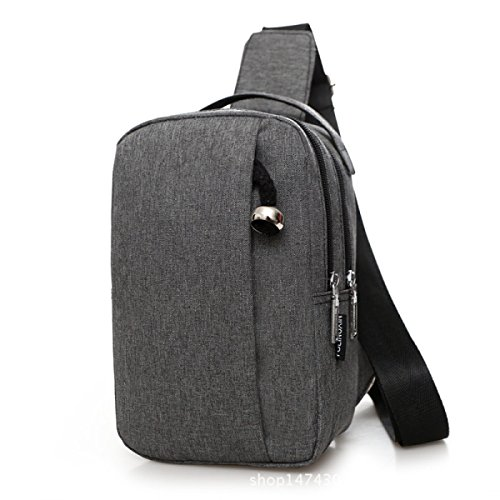 BULAGE Pack Brustbeutel Männer Nylon Tasche Multifunktions Brust Mode Mehrzweck- Tragbare Beiläufig Rucksack Schulter Gray