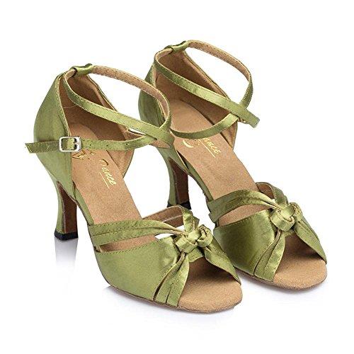 Sandali Donna In Pelle Scamosciata Con Suole Morbide Salsa Latin Samba Ballroom Tango Alti Tacchi Fibbia Cross Strap Dance Shoes Green C