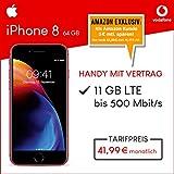 Apple iPhone 8 (rot) 64GB Speicher Handy mit Vertrag (Vodafone Smart XL) 11GB Datenvolumen 24 Monate Mindestlaufzeit [Exklusiv bei Amazon]